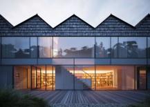 Hendee-Borg House with symmetrical sawtooth roof