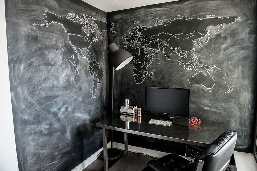 Home office in gray and black with chalkboard walls