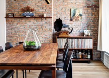 Industrail elements shape the renovated dining space with brick walls 217x155 1890s Brooklyn Home with Brick Walls Gets a Modern Renovation