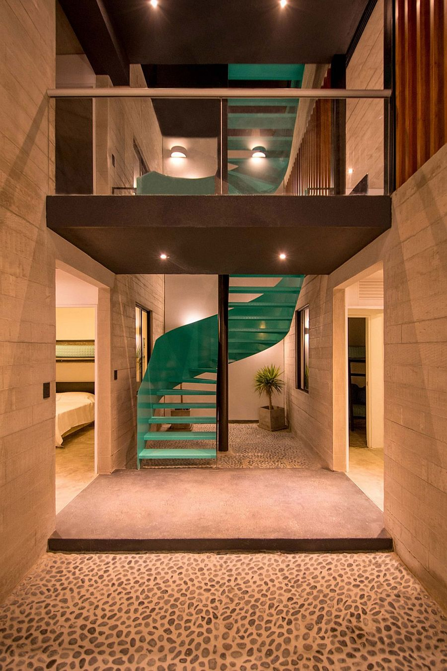 Ingenious staircase connects the various levels of the house