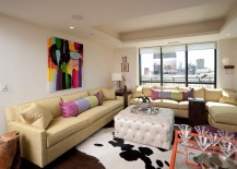 Interesting use of color inside the contemporary living room [Design: KBI Interior Design Studios]