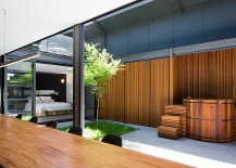 Interior of the industrial home built around a sweeping central courtyard