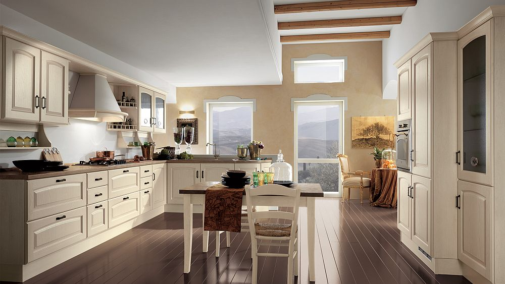L shaped kitchen design with spacious worktops, central table island and wall units
