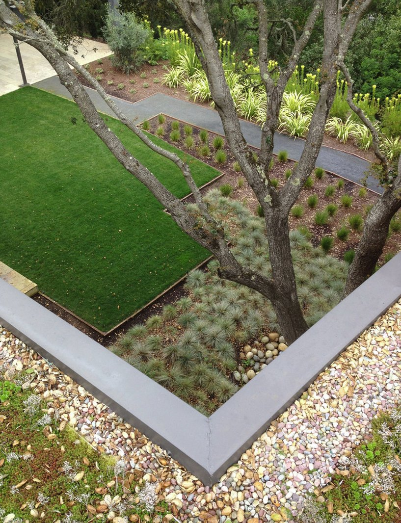 Landscaped yard with clear divisions