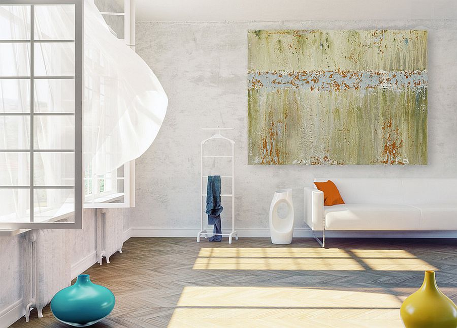 Large wall art pieces can make a huge impact without creating clutter [Design: CMFA - Chris Mundwiller Fine Art]