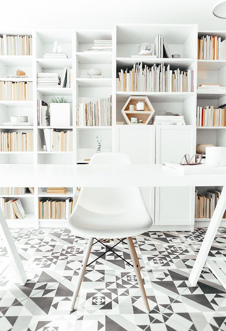 Light-filled, white Scandinavian home office with unique flooring [Design: Andrea McLean Design Office]