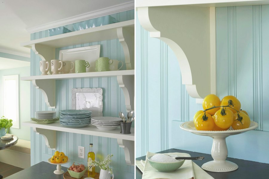 Light blue beadboard paneling in a cottage-style kitchen
