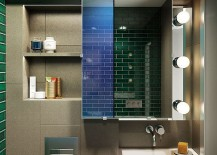 Lighting in the bathroom creates a vintage appeal