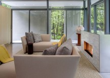 Living room clad in glass walls