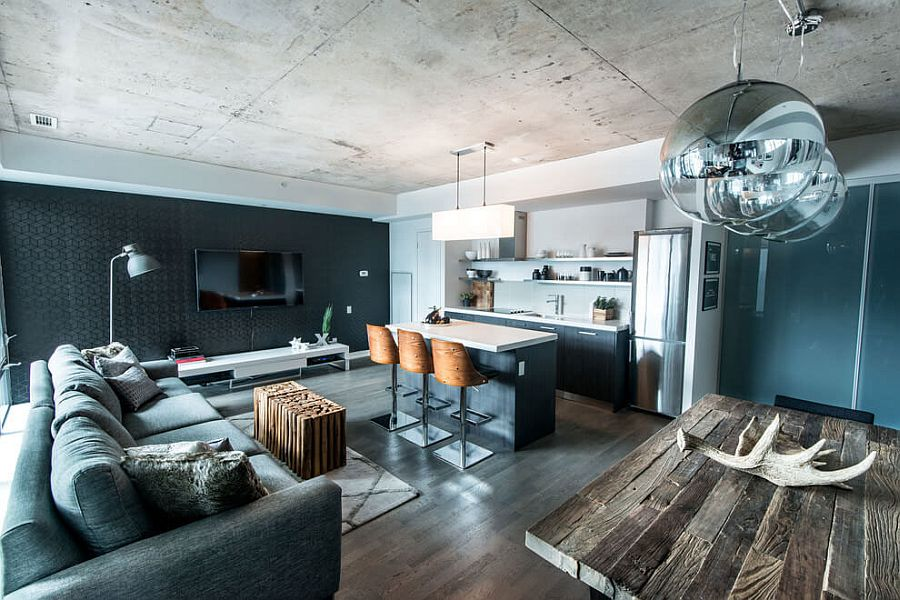 Living room of the industrial condo loft in Toronto