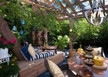 Loungey tree bench on a beautiful patio
