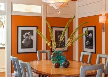 Lovely blend of blue and orange in this vibrant dining room