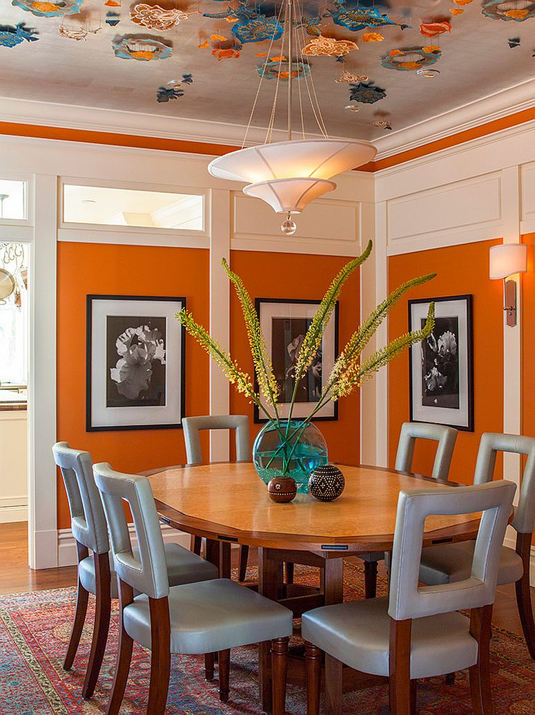 25 trendy dining rooms with spunky orange for Orange dining room design ideas