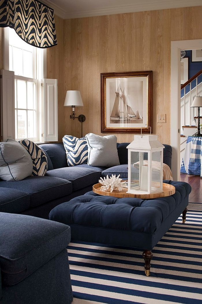 Lovely use of navy blue in the traditional living room