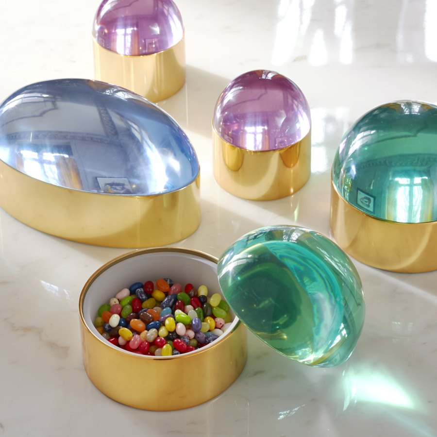 Lucite and brass boxes from Jonathan Adler