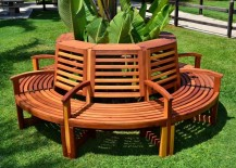 Luna tree bench from Forever Redwood 217x155 Tree Bench Ideas for Added Outdoor Seating