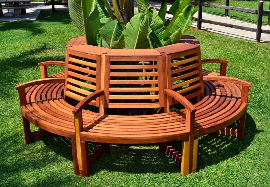 Luna tree bench from Forever Redwood  Tree Bench Ideas for Added Outdoor Seating Luna tree bench from Forever Redwood
