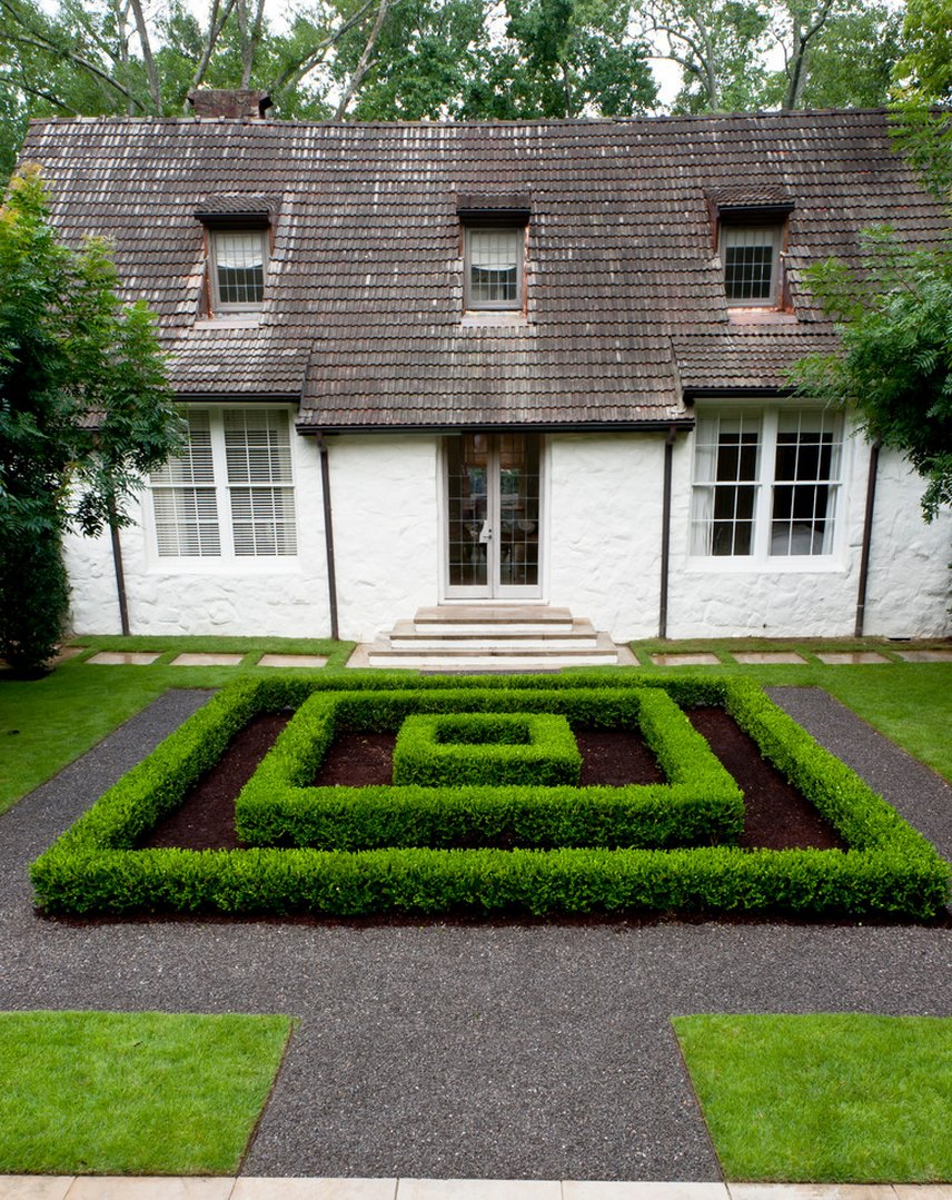 Manicured hedges provide a maze-like focal point