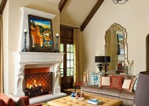 Mediterranean style family room with a comfy ottoman at its heart [Design: Astleford Interiors]