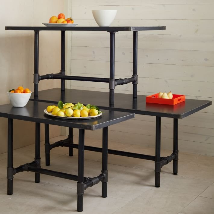Metal-top trestle tables from West Elm
