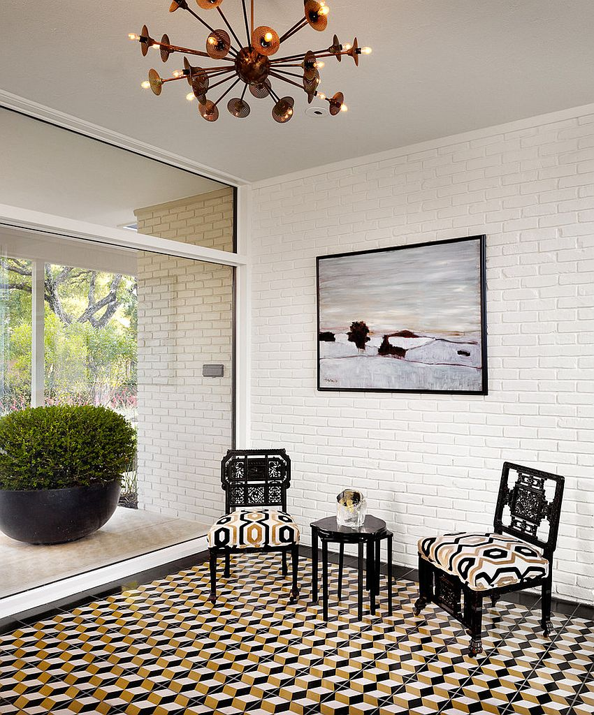 25 creative geometric tile ideas that bring excitement to your home midcentury modern entry with a dazzling floor design baxter design group dailygadgetfo Image collections