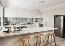 Minimal Perth kitchen combines Scandinavian influences with lovely splashback tiles! [Design: Jodie Cooper Design]