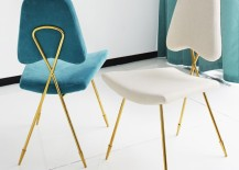 Modern dining chairs with a glass base