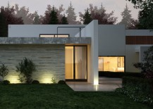 Modern home of stone, stucco and wood