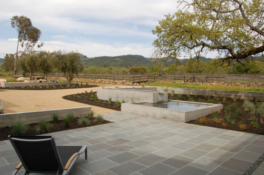 Modern paver patio with a view