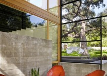 Modern seating in a screened-in porch