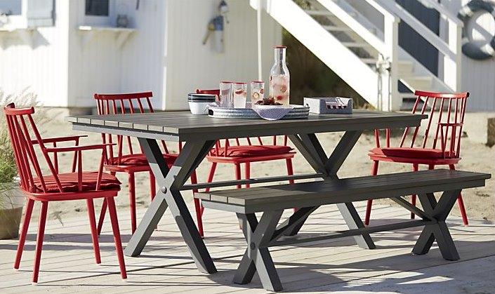 Modern slatted trestle table