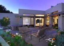 Modern stucco home with a patio