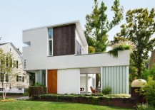 Modern stucco house with interesting details