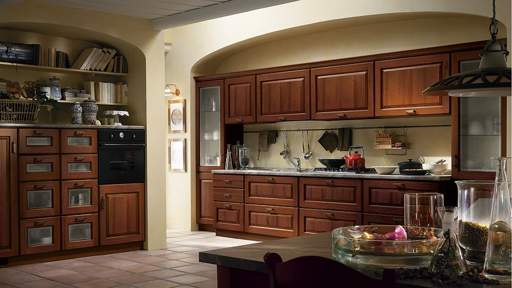 Modular shelves and wall units shape the contemporary classic kitchen