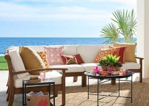 Moroccan Metal Tray Table in Colorful Outdoor Patio Setting