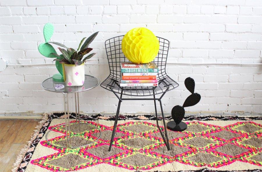 Neon argyle rug from Baba Souk