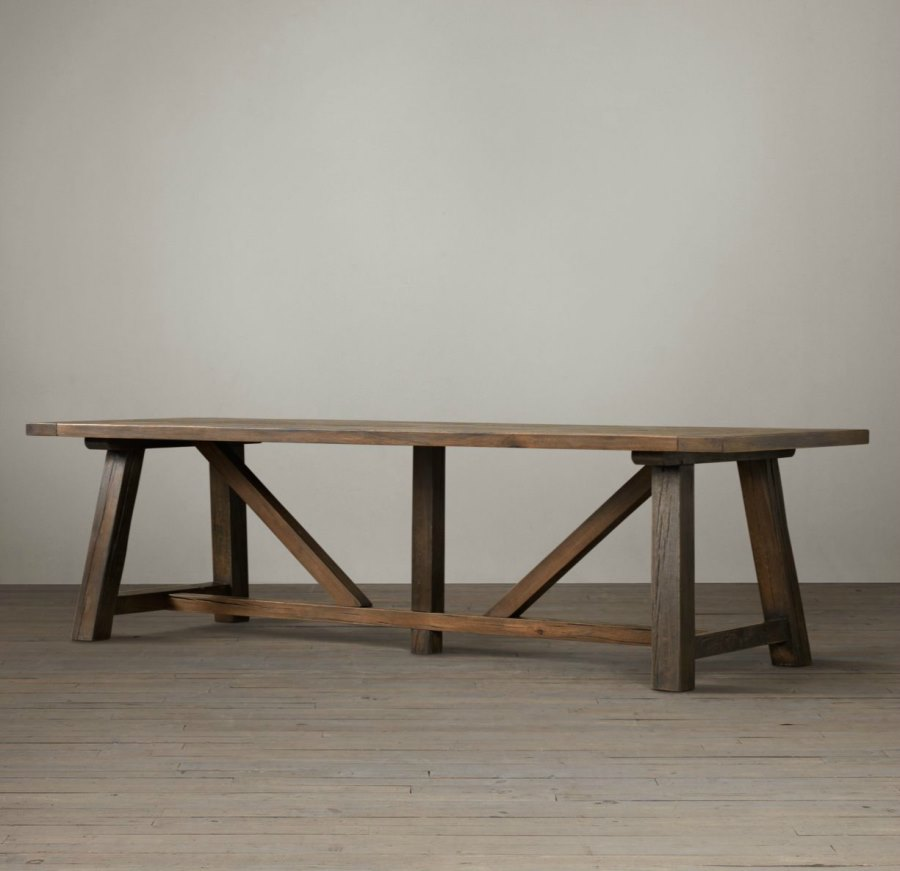 Oak trestle dining table from Restoration Hardware