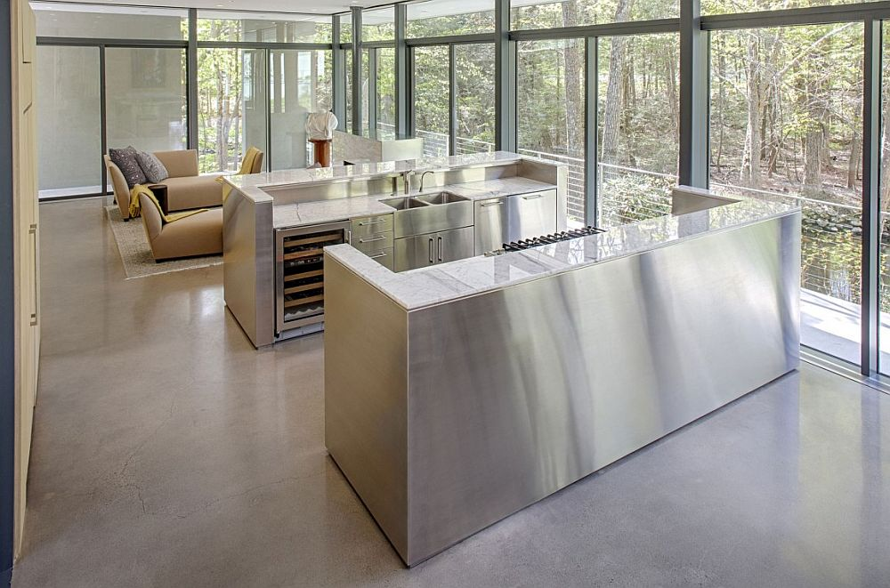 Open living area of the Weston Residence with glass walls