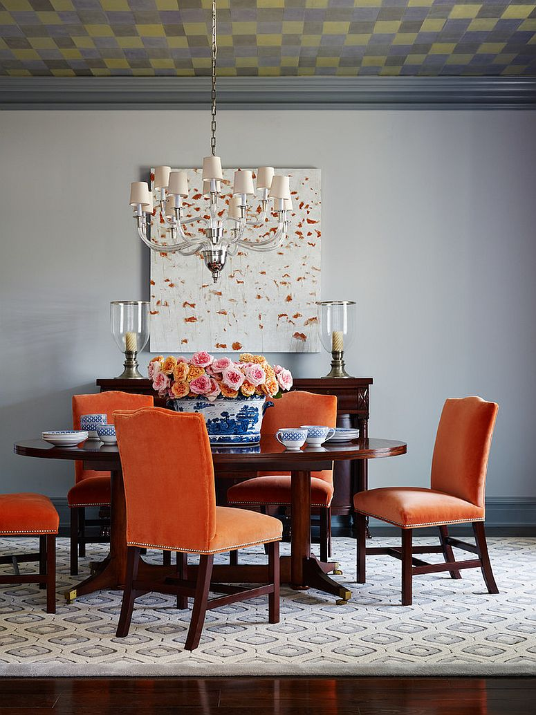 25 trendy dining rooms with spunky orange for Orange and grey dining room