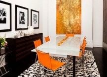 Orange with a hint of golden dazzle in the dining room