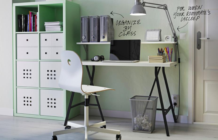 Organized desk area designed by IKEA