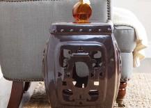 Ornate Brown Glazed Ceramic Stool