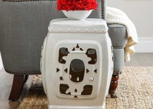 Ornate White Glazed Ceramic Stool
