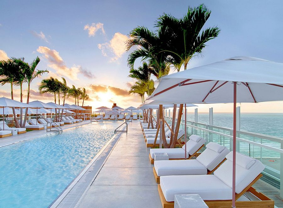 Outdoor swimming pool that overlooks the Atlantic Ocean 1 Hotel South Beach: Miami's Latest Luxury Retreat with Dramatic Views of the Atlantic