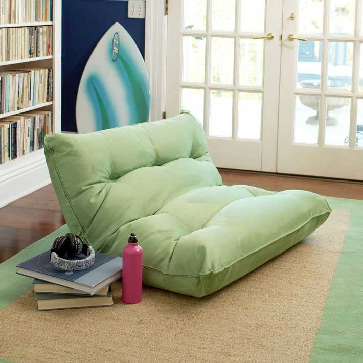 PB Teen Single Floor Lounger in Lime Green