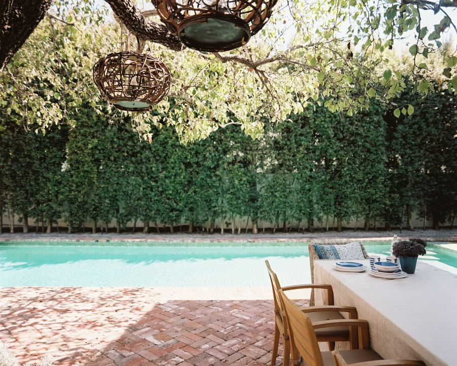 Poolside herringbone patio
