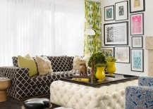 Pops of yellow enliven he gorgeous living room with plush textures