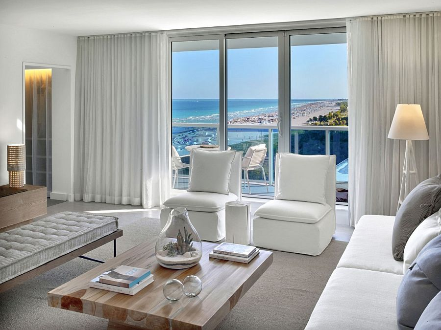 Pristine white drapes allow you to switch between ocean views and complete privacy