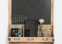 Reclaimed Wood Chalkboard Calendar Shelf