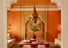 Red and ochre Moroccan room in Qatar